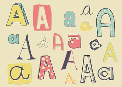 Letter A doodles