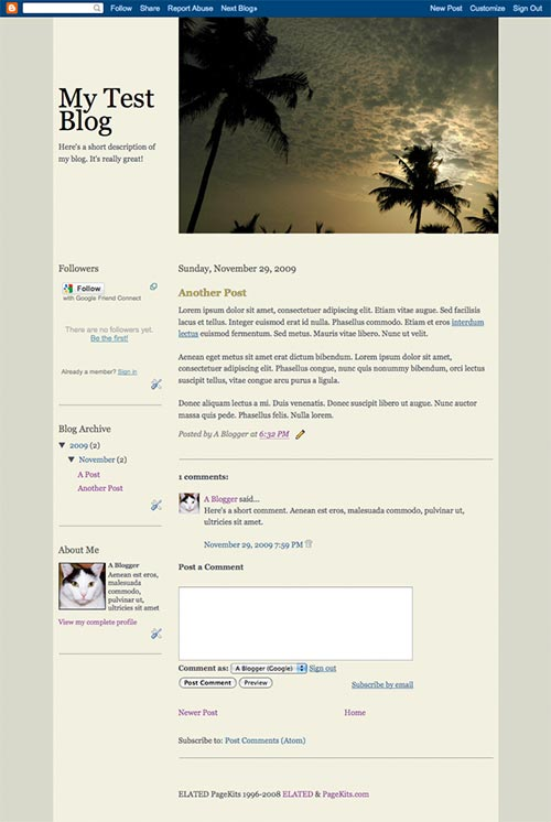 Finished template showing a blog post page