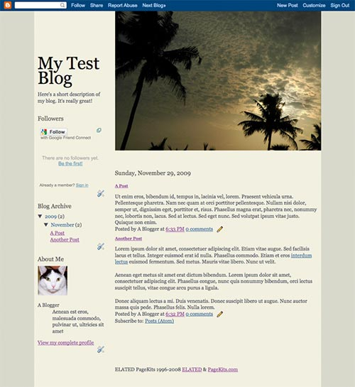 Template with Blogger tags