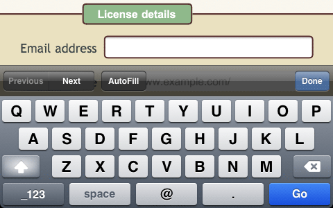 iPhone screenshot of email address field and keyboard