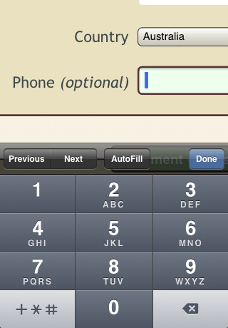 iPhone screenshot of tel field and keypad