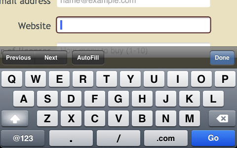 iPhone screenshot of URL field and keyboard