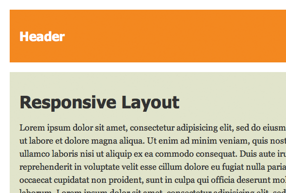 Screenshot of responsive layout with large type