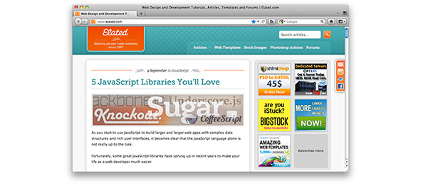 Screenshot of www.elated.com at 1,000 pixels wide