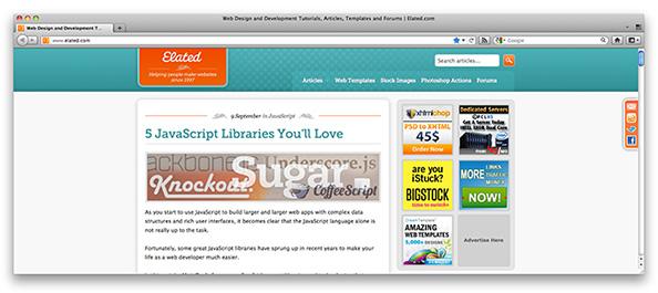 Screenshot of www.elated.com at 1600 pixels wide