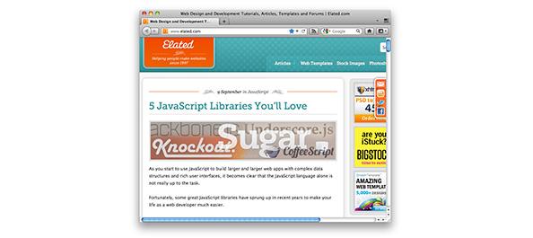 Screenshot of www.elated.com at 800 pixels wide