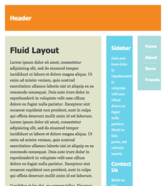 Screenshot of fluid layout with a narrow window