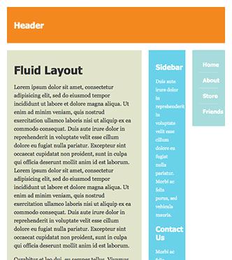 Screenshot of fluid layout with a narrow window