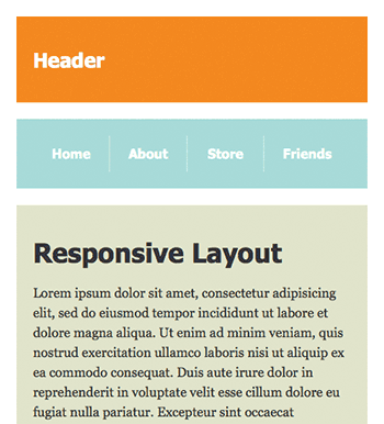 Screenshot of 1-column responsive layout at 480px