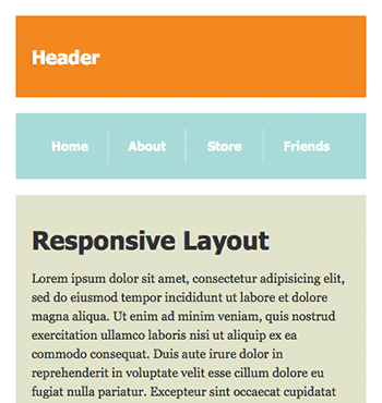 Screenshot of 1-column responsive layout at 500px