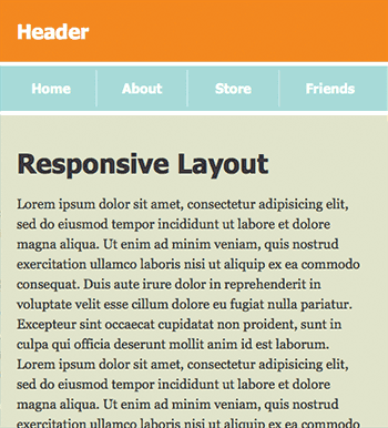 Screenshot of 1-column responsive layout with thinner margins at 480px