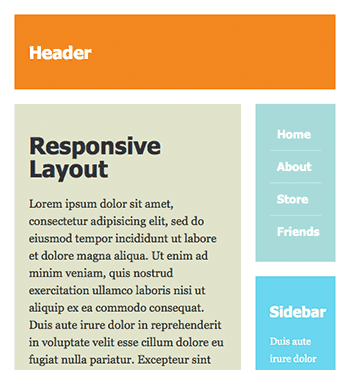 Screenshot of 2-column responsive layout at 500px