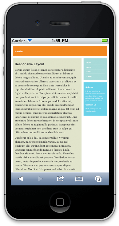 Screenshot of responsive layout on iPhone, no viewport meta tag