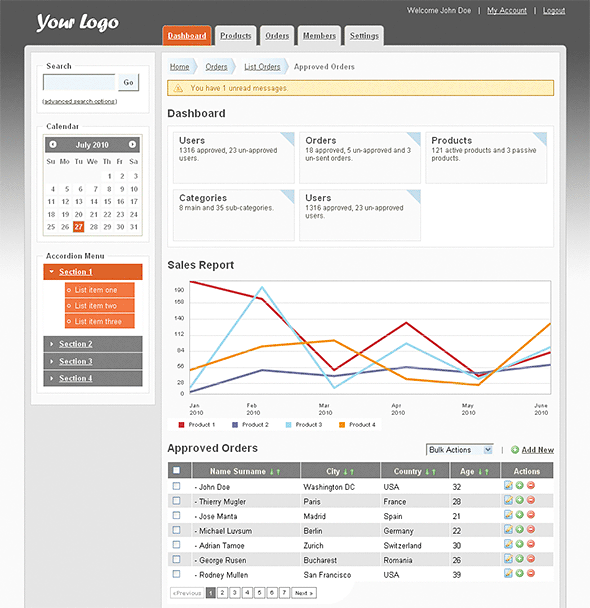 Admin Template screenshot