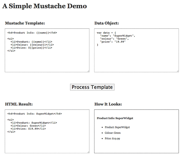 Screenshot of simple demo page