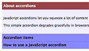 JavaScript accordion screenshot