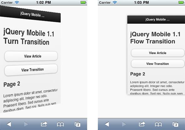 Screenshot of turn and flow transitions in jQuery Mobile 1.1