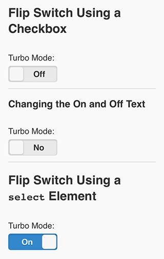 The flipswitch widget in action