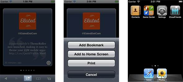 Adding the app to the iOS home screen