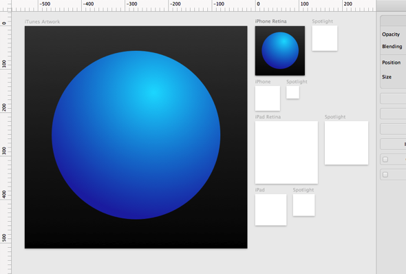 Creating iOS icons using multiple artboards. This comes as a template in Sketch
