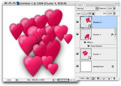 A cluster of hearts created using Smart Objects