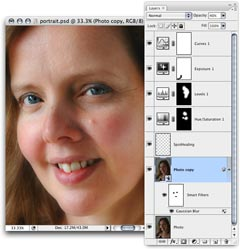 Retouching a portrait