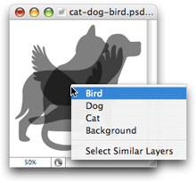 Selecting buried layers in the document window