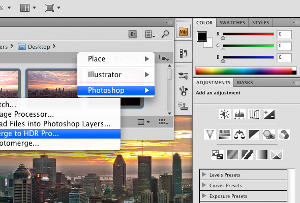 The Photoshop CS5 interface