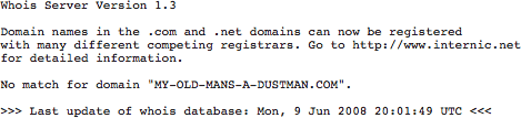 DNSstuff's WHOIS result page