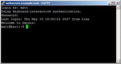 PuTTY window - logged into Web server