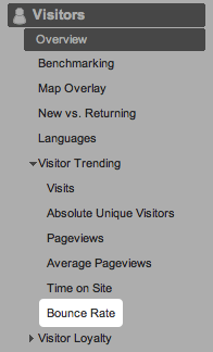 The Bounce Rate menu option in Google Analytics