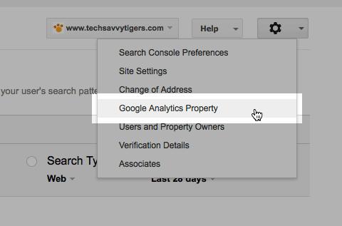 Google Analytics Property menu item