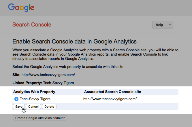 Selecting a Google Analytics property in Search Console