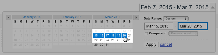 To select a custom date range, first click on the start date in the calendar, then click on the end date.
