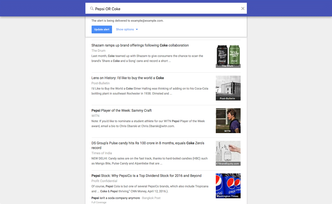 Google Alert example: Pepsi OR Coke