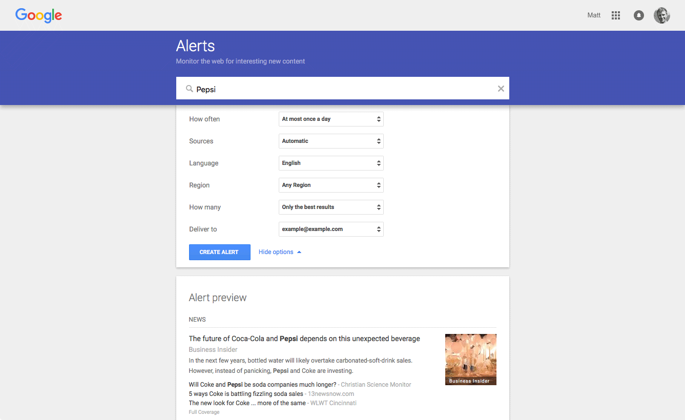 Setting up a Google Alert - screenshot