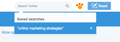 Twitter Saved Searches menu