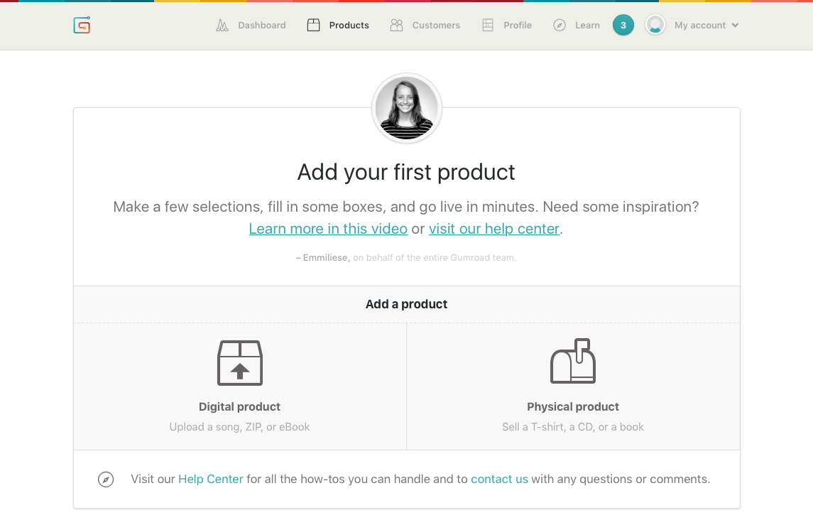 Gumroad's 'Add Your First Product' page