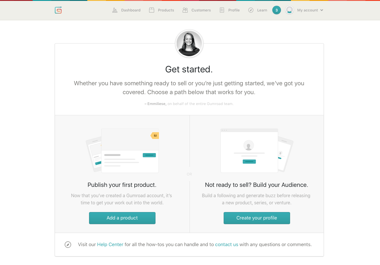 Gumroad 'get started' page