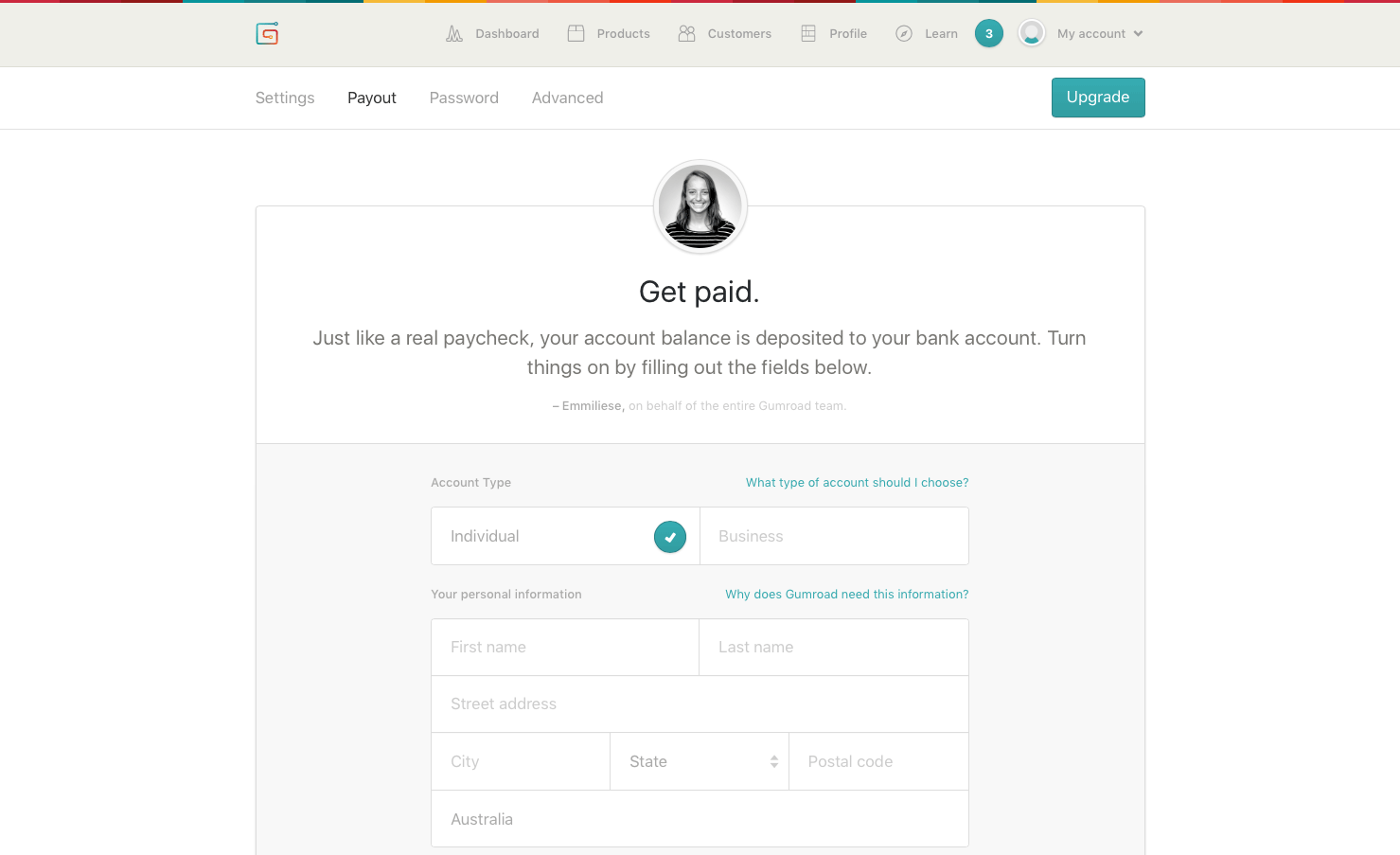 Gumroad Payout page