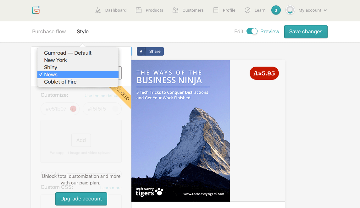 Choosing a purchase style in Gumroad