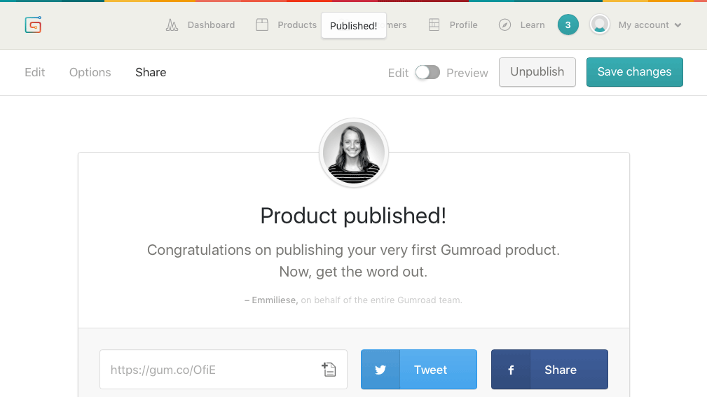 Gumroad product published