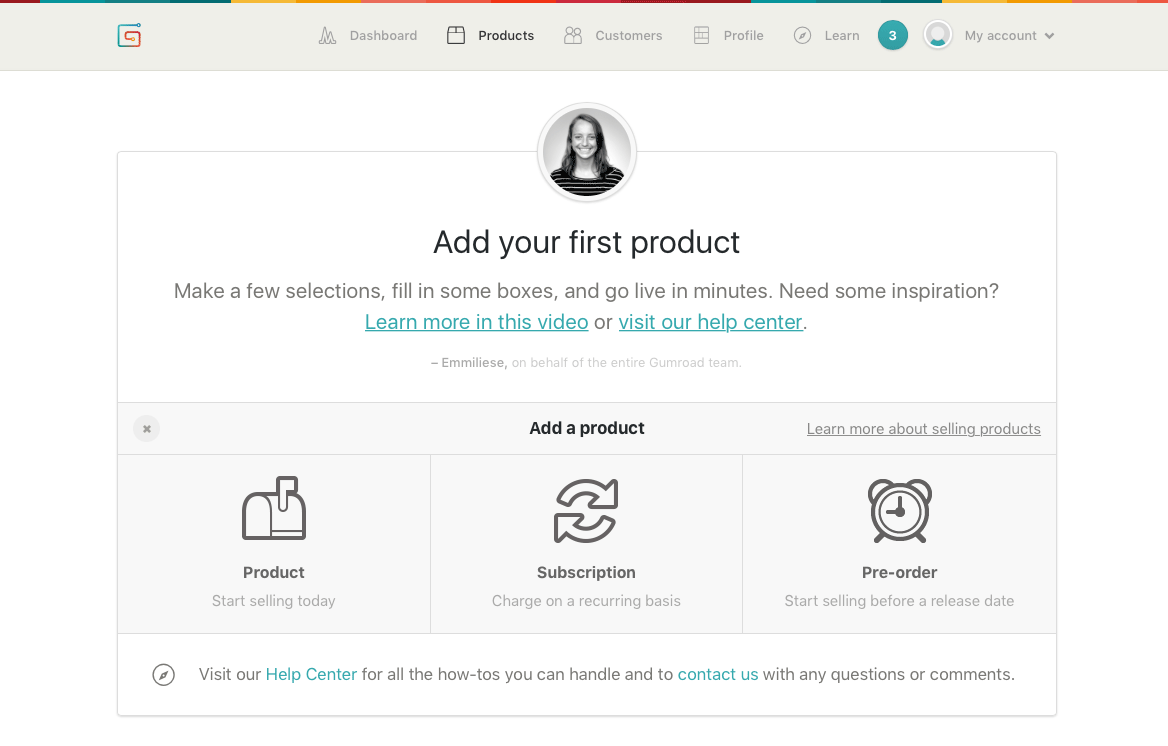 Selecting a product type in Gumroad