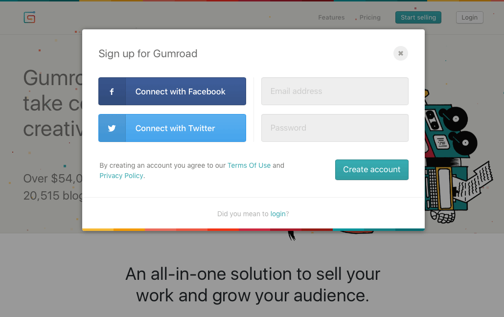 Signing up for Gumroad