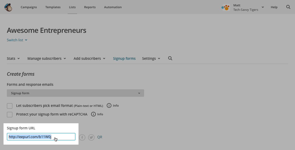 MailChimp: Copying the signup form URL