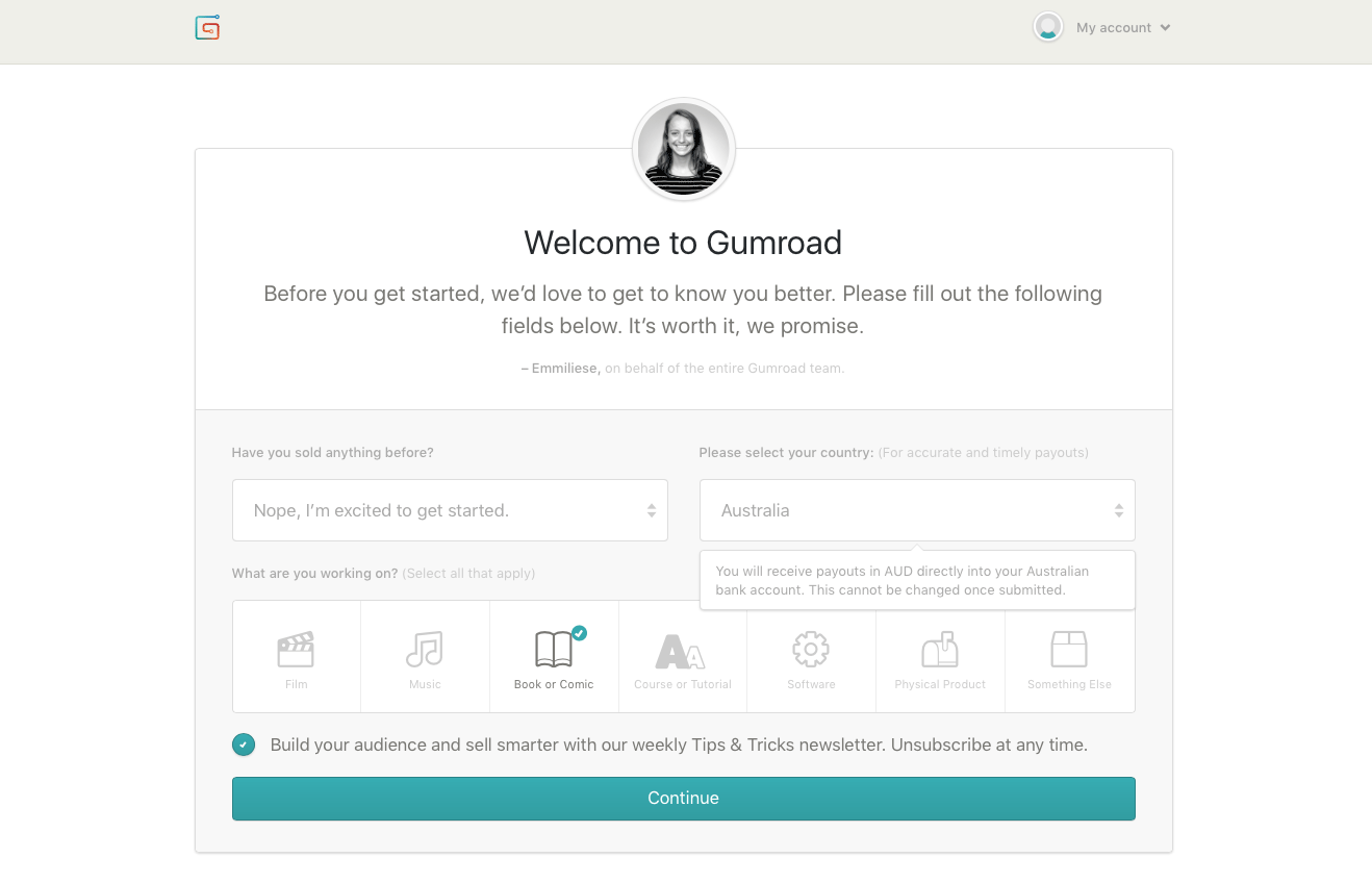 'Welcome to Gumroad' page