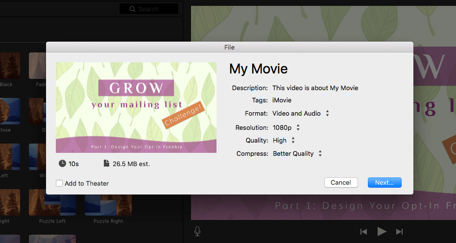 iMovie: Export movie