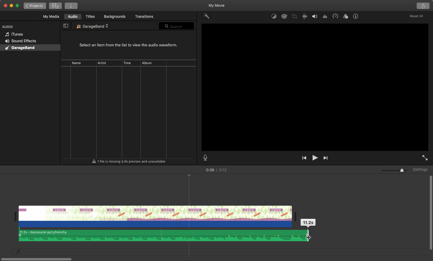 iMovie: Shortening the music track