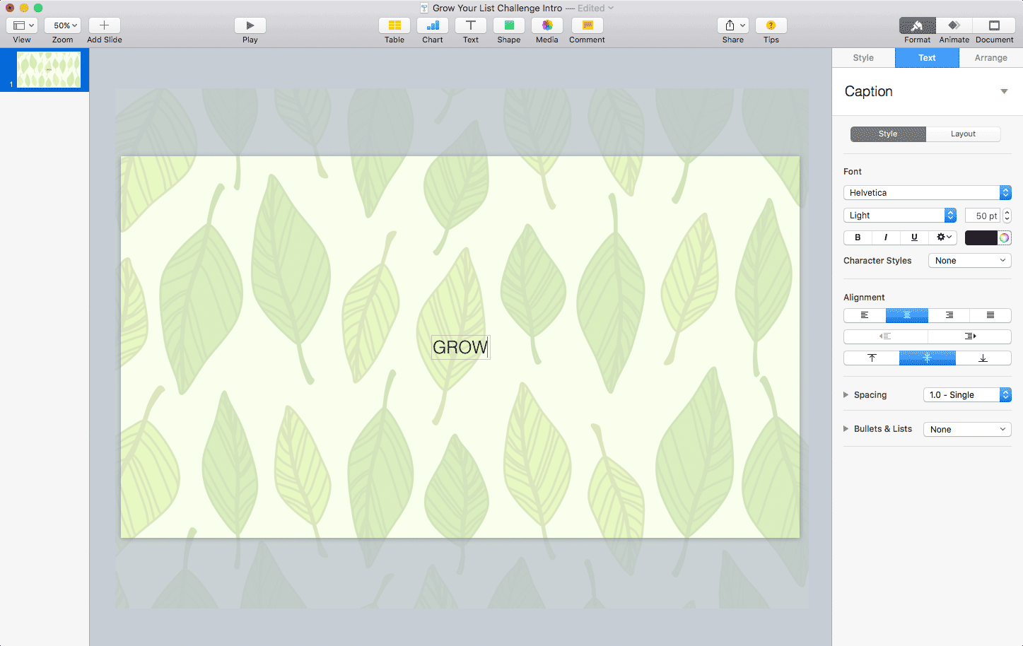 Keynote: Adding the GROW text