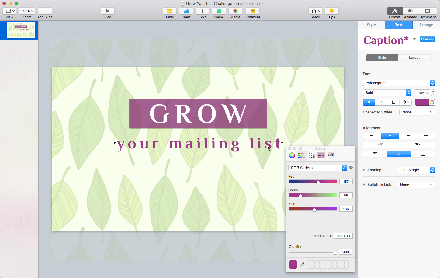 Keynote: Adding the 'your mailing list' text